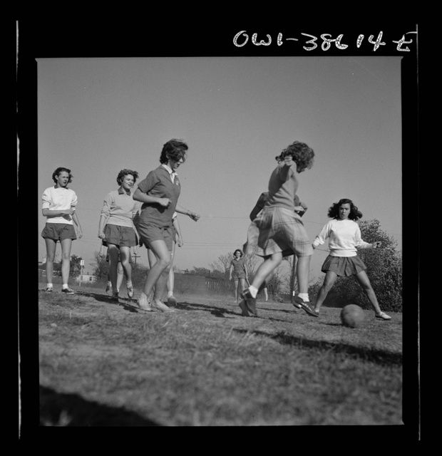 Washington, D.C. Playing soccer in a physical education class at Woodrow Wilson High School