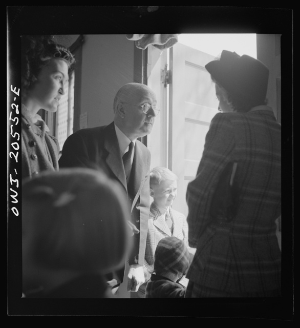 Washington, D.C. Reverend Foot greeting members of his congregation after services at the First Wesleyan Methodist church