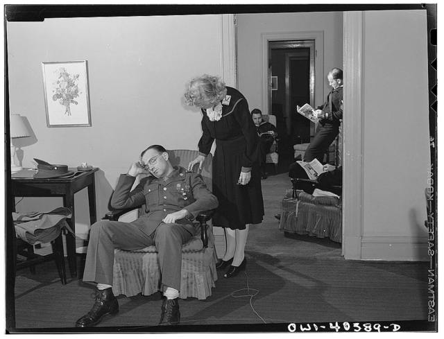 Washington, D.C. Servicemen who sleep in the lounge at the United Nations service center between trains can have an attendant wake them at a specified time