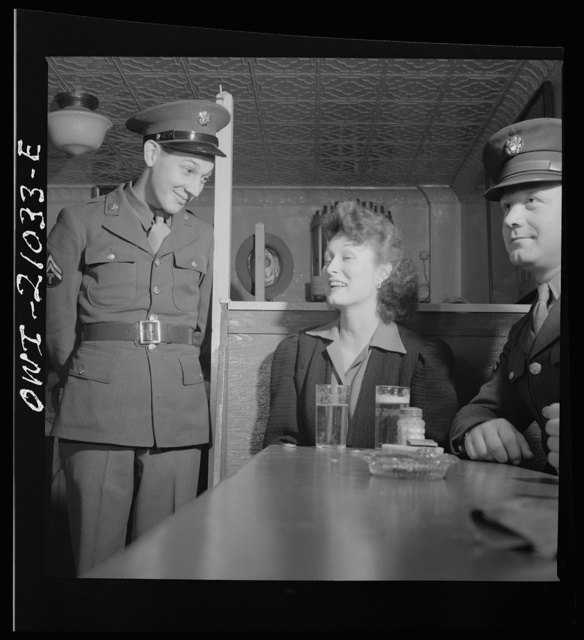 Washington, D.C. Soldier asking permission to sit at a booth at the Sea Grill