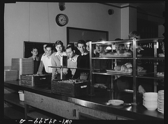 Washington, D.C. The boys in the cafeteria line at Woodrow Wilson High School
