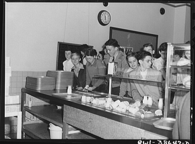 Washington, D.C. The boys' line in the cafeteria at Woodrow Wilson High School