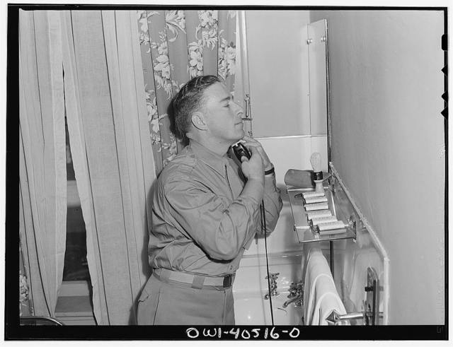 Washington, D.C. The officers' dressing room at the United Nations service center where officers may shave and clean up without engaging a hotel room