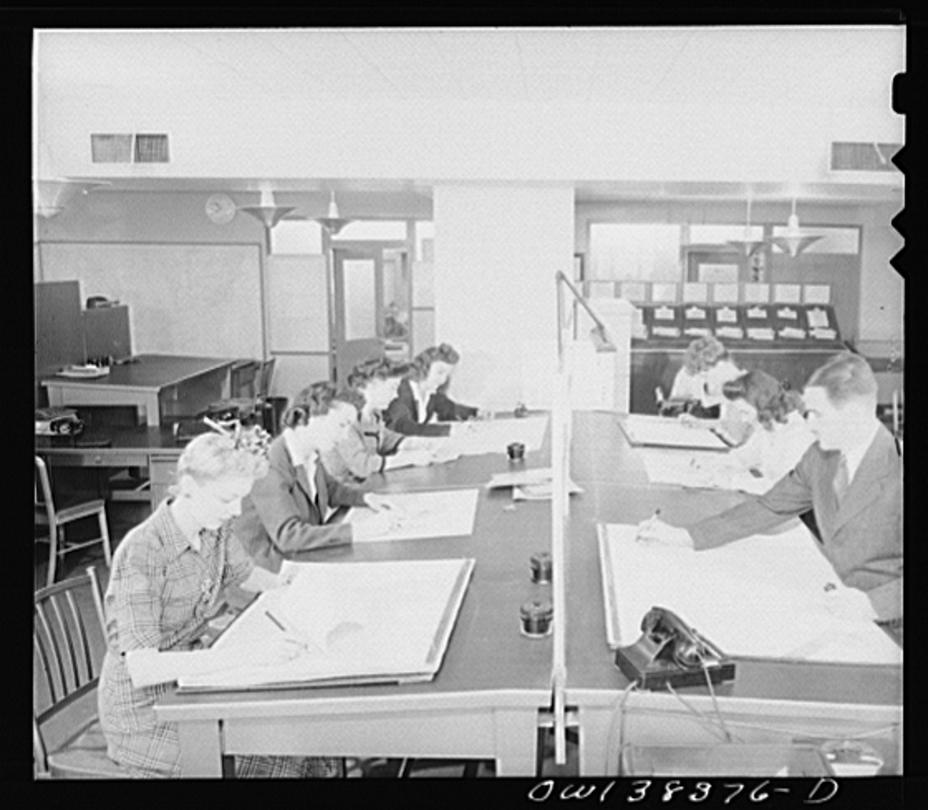 Washington, D.C. The U.S. Weather Bureau station at the National Airport. Weather observation data from all sections of the country being placed on charts and maps preparatory to the issuing of of forecasts