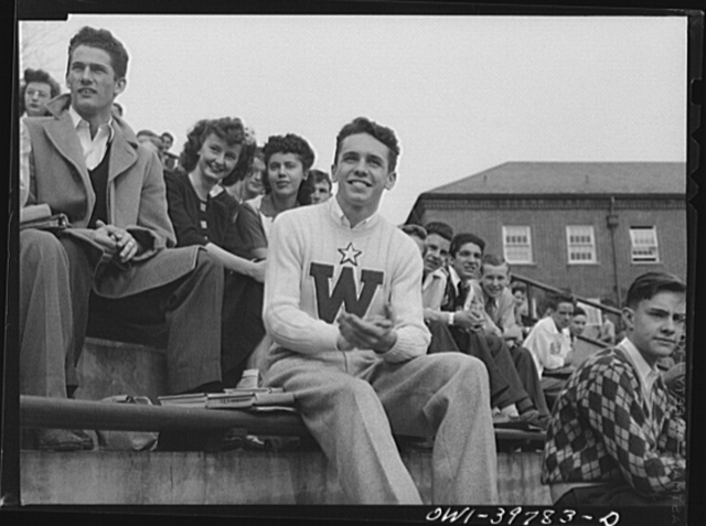 Washington, D.C. Walter Spangenberg at a pep assembly held the day before a football game at Woodrow Wilson High School