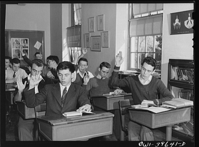 Washington, D.C. Walter Spangenberg (at far right) in his geometry class at Woodrow Wilson High School