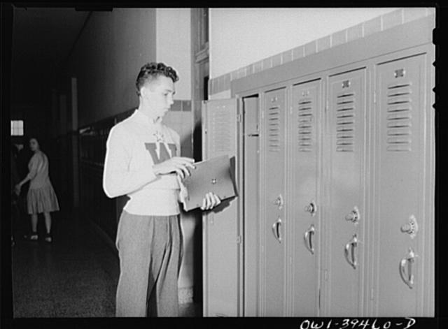 Washington, D.C. Walter Spangenberg at his locker at Woodrow Wilson High School