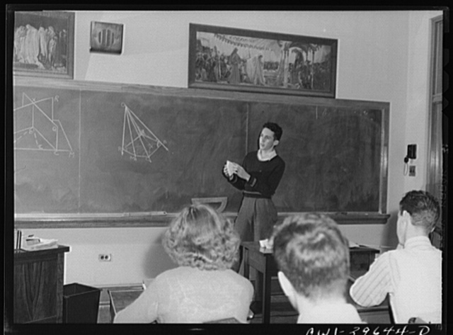 Washington, D.C. Walter Spangenberg giving a demonstration in a solid geometry class at Woodrow Wilson High School