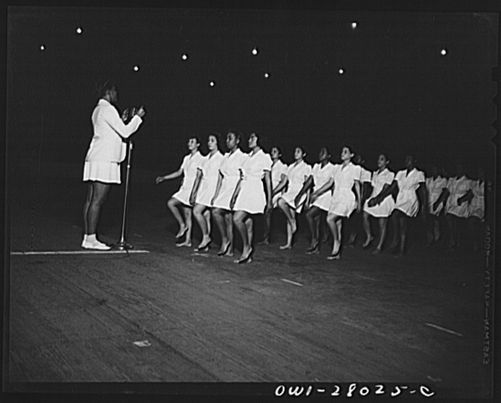 """Washington, D.C. With """"Victory through good health"""" as a slogan, Negro schools held a show at the Uline arena stressing the importance of physical education programs. Women of Howard University in a Swedish calisthenics drill"""