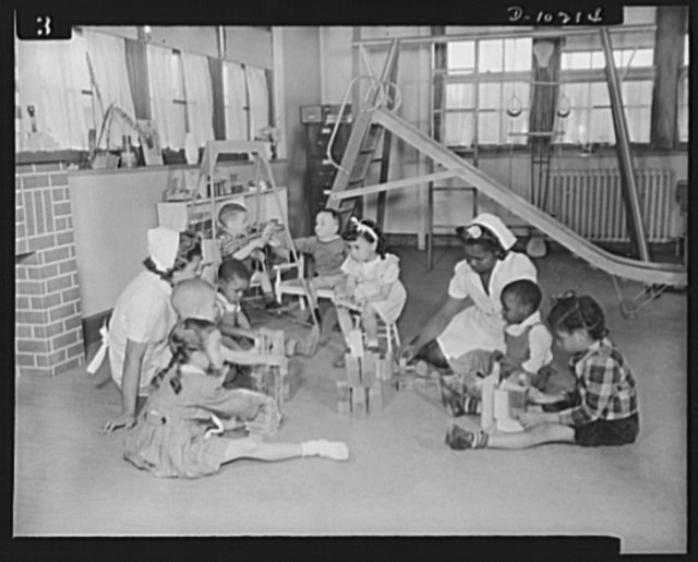 Washington public schools go to war. The public schools of Washington, D.C., like those in most other sections of the country, have revised their curricula to fit the pupils for fuller participation in the war effort. They have gone all-out for the Program of Civilian Defense, which includes child care and training. At the Margaret Murray Washington Vocational School, pre-school guidance as well as free play activities are provided. Miss L.C. Randolph is principal and Mrs. Vivian T. Turner, instructor in the child care and training classes