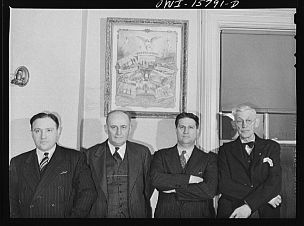 West Chicago, Illinois. Officers of Albert Keep Lodge, Number 364, International Brotherhood of Railway Trainmen. Left to right: vice-president E.H. Schlueter, a yard engine foreman; treasury and local chairman, F.C. Ehredt, ticket collector and assistant conductor; legislative representative Carl Berkes, passenger brakeman and W.M. Hoag, president, a yard engine foreman