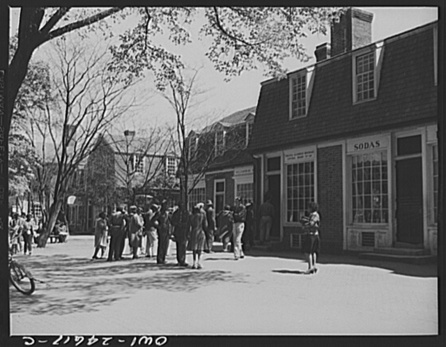 Williamsburg, Virginia. The capitol of the Virginia colony during the eighteenth century which was reconstructed and restored to its original state by John D. Rockefeller, Jr. during the 1930s. Southwest Duke of Gloucester Street in the business district