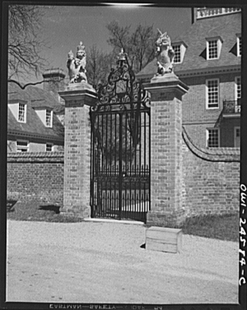 Williamsburg, Virginia. The capitol of the Virginia colony during the eighteenth century which was reconstructed and restored to its original state by John D. Rockefeller, Jr. during the 1930s. Gateway to the governor's palace