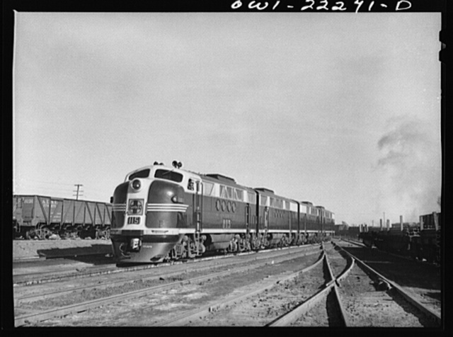 Winslow, Arizona. Atchison, Topeka, and Santa Fe Railroad diesel freight locomotive which has just come out of the roundhouse
