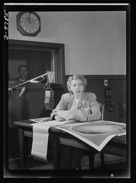 Women in essential services. Ruth Anderson, San Francisco's only woman radio news reporter, has entered a field formerly open only to men. A graduate of radio soap operas, Miss Anderson began her newscasts last October on a probational basis and has been editing, preparing and broadcasting reports on world news ever since