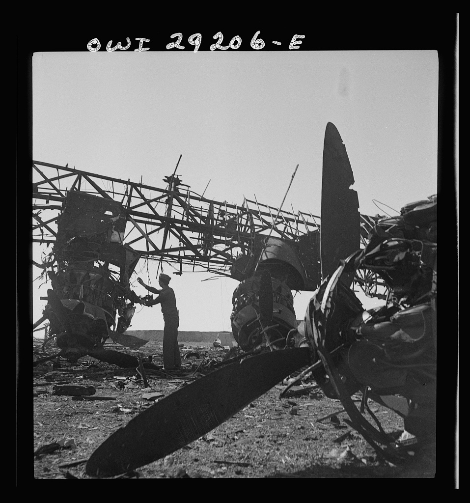 Wreckage of giant German transport planes intended for the Axis troop evacuation from Tunis