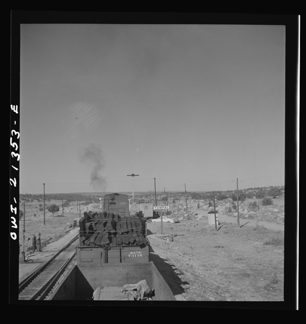 Yampai, Arizona. Going through the town on the Atchison, Topeka, and Santa Fe Railroad between Seligman, Arizona and Needles, California