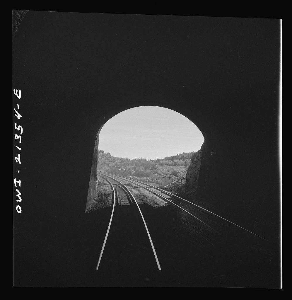 Yampai (vicinity), Arizona. Going through a small tunnel on the Atchison, Topeka, and Santa Fe Railroad between Seligman, Arizona, and Needles, California