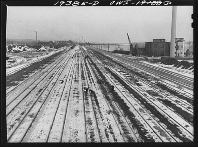 Yard and main line tracks on route of the Atchison, Topeka and Santa Fe Railroad