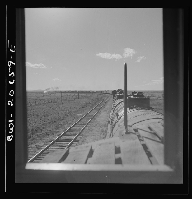 Yeso, New Mexico. Rounding a curve along the Atchison, Topeka, and Santa Fe Railroad between Clovis and Vaughn, New Mexico