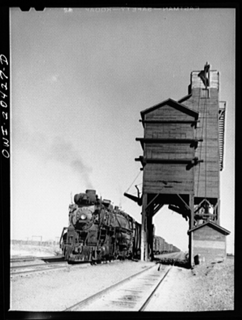Yeso, New Mexico. Stopping for water along the Atchison, Topeka and Santa Fe Railroad