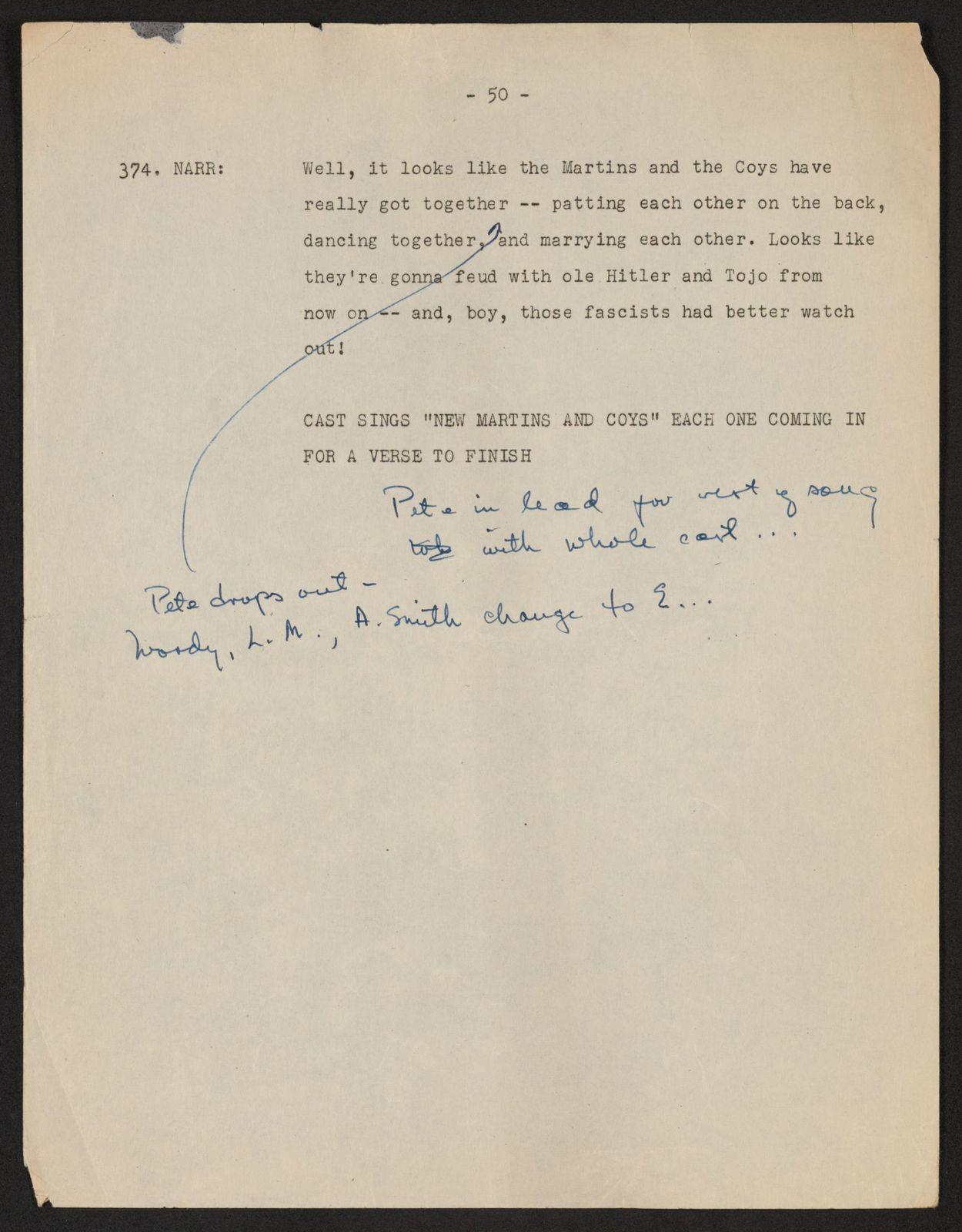 Alan Lomax Collection, Manuscripts, BBC, 1944