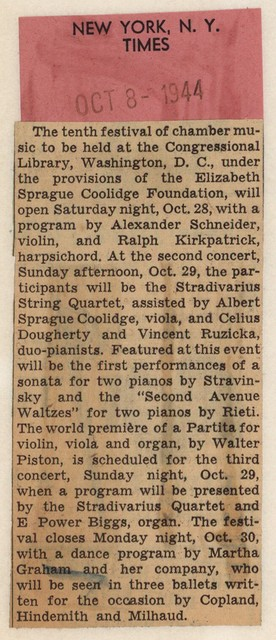 [ Announcement of Tenth Festival of Chamber Music at the Coolidge Auditorium]