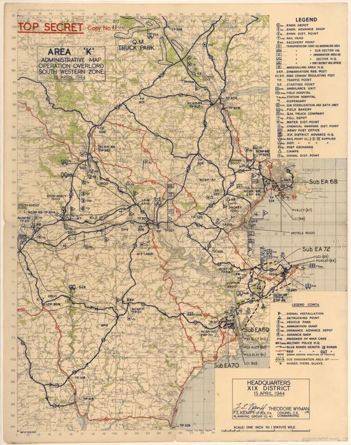 Area 'K' : administrative map Operation Overlord South Western Zone, 15 April 1944 /