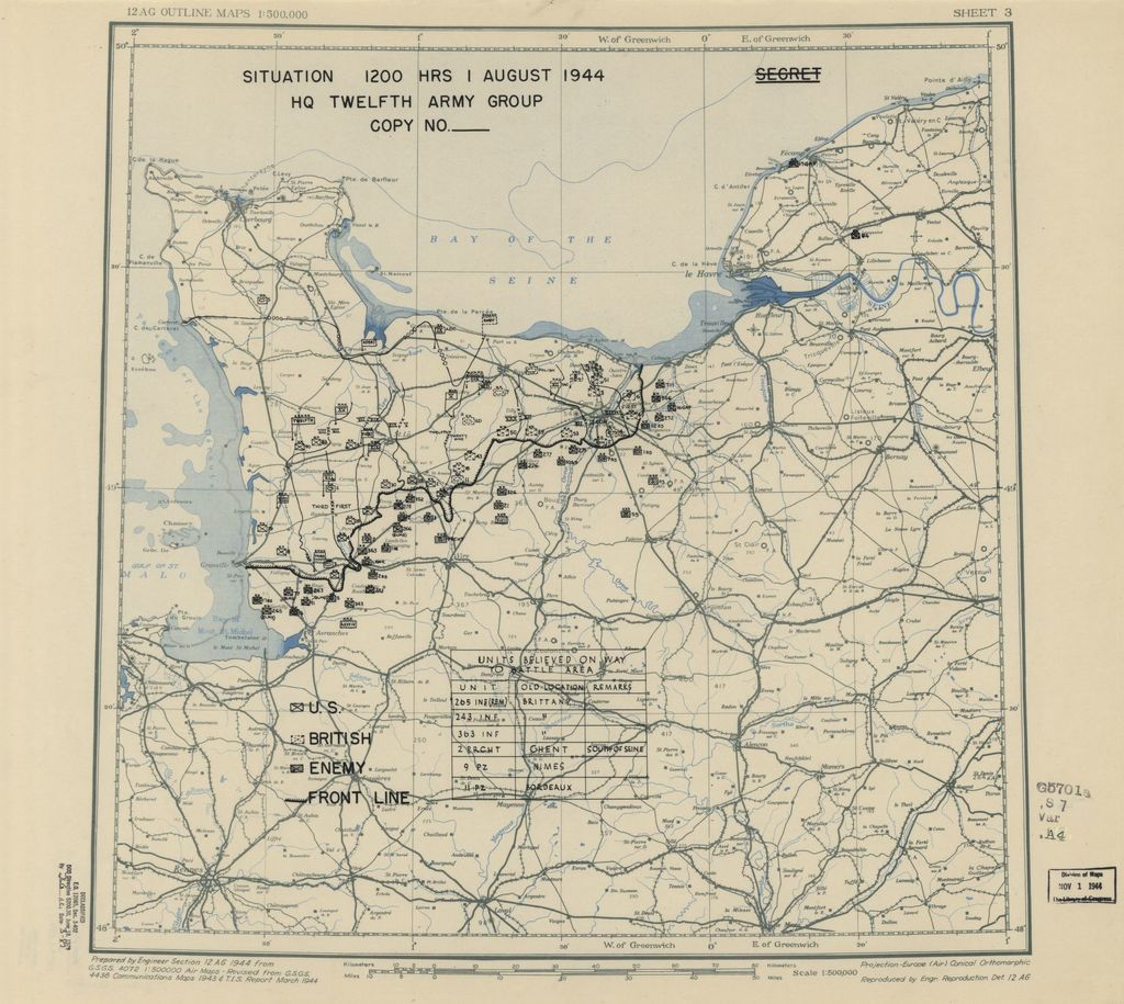 [August 1, 1944], HQ Twelfth Army Group situation map.