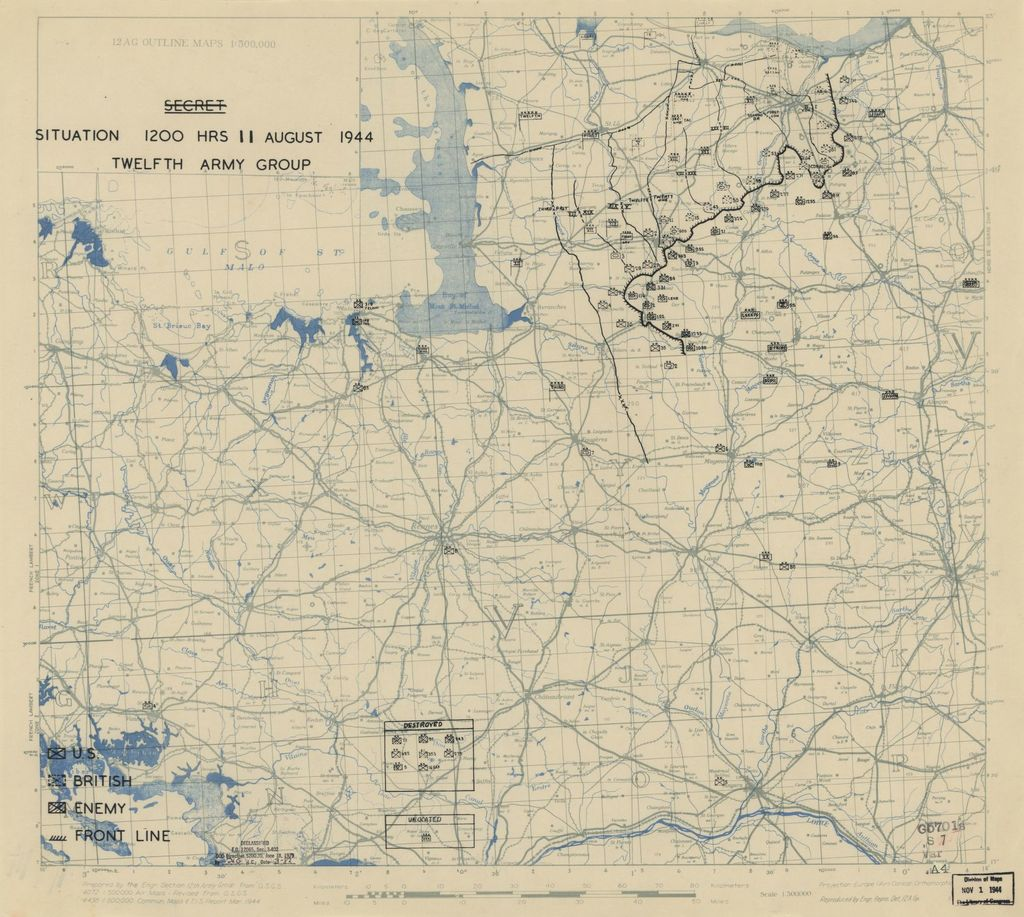 [August 11, 1944], HQ Twelfth Army Group situation map.