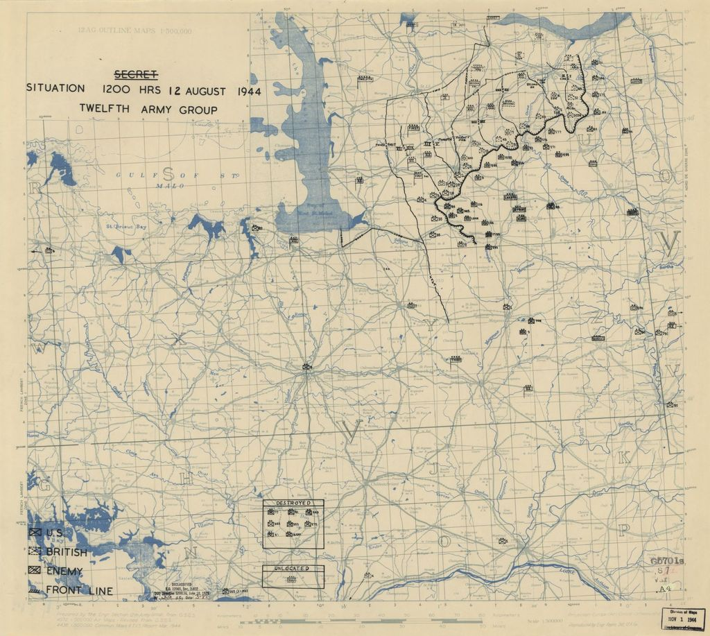 [August 12, 1944], HQ Twelfth Army Group situation map.