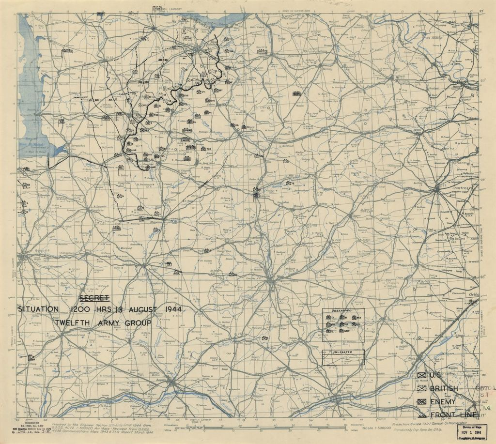 [August 13, 1944], HQ Twelfth Army Group situation map.