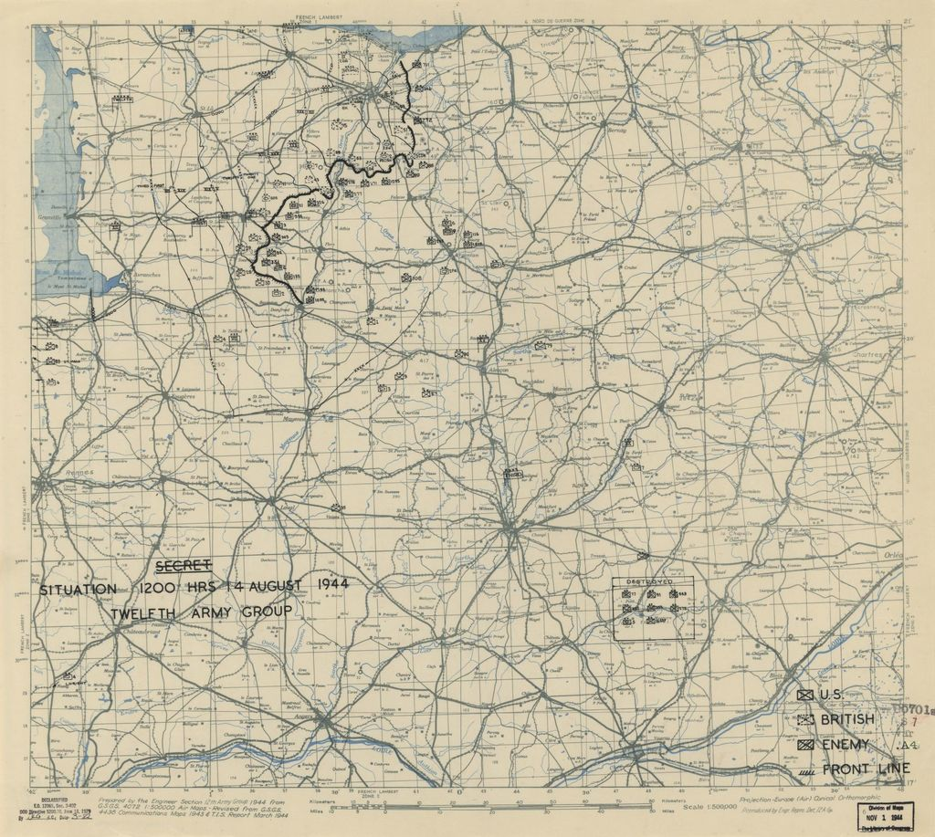 [August 14, 1944], HQ Twelfth Army Group situation map.