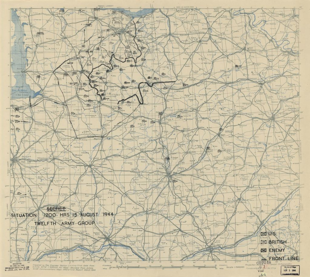 [August 15, 1944], HQ Twelfth Army Group situation map.