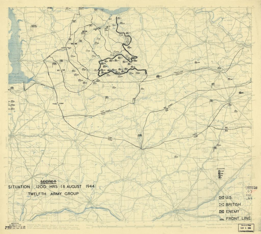 [August 18, 1944], HQ Twelfth Army Group situation map.