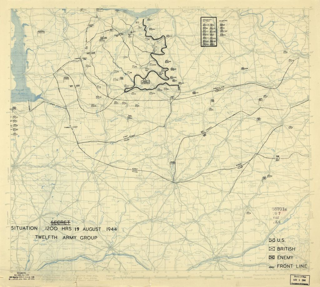 [August 19, 1944], HQ Twelfth Army Group situation map.
