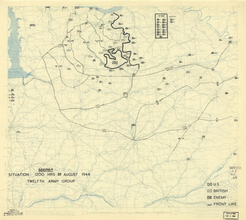 [August 20, 1944], HQ Twelfth Army Group situation map.