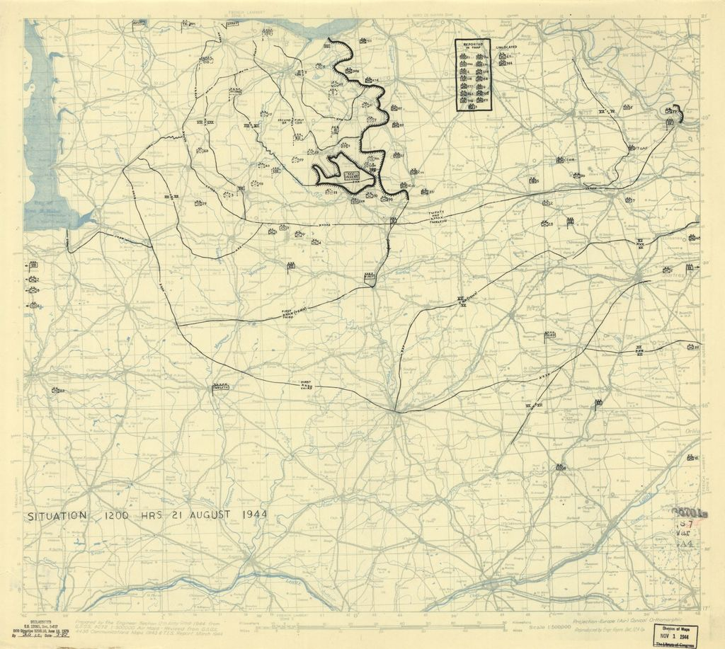 [August 21, 1944], HQ Twelfth Army Group situation map.