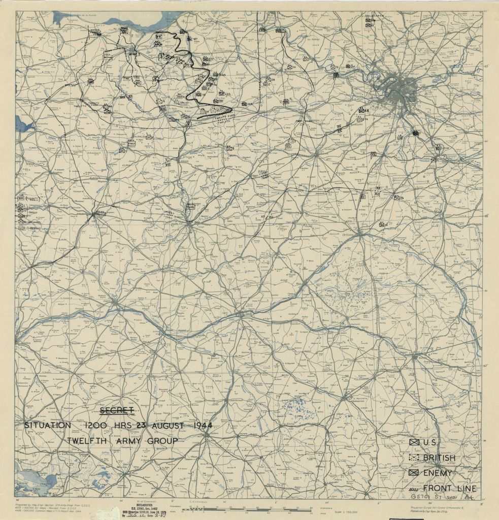 [August 23, 1944], HQ Twelfth Army Group situation map.