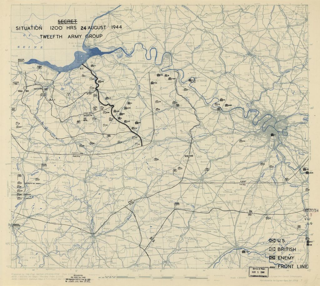 [August 24, 1944], HQ Twelfth Army Group situation map.