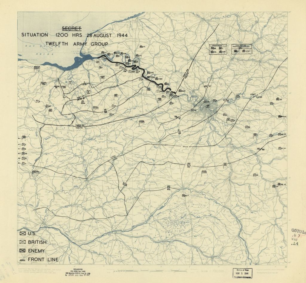 [August 28, 1944], HQ Twelfth Army Group situation map.