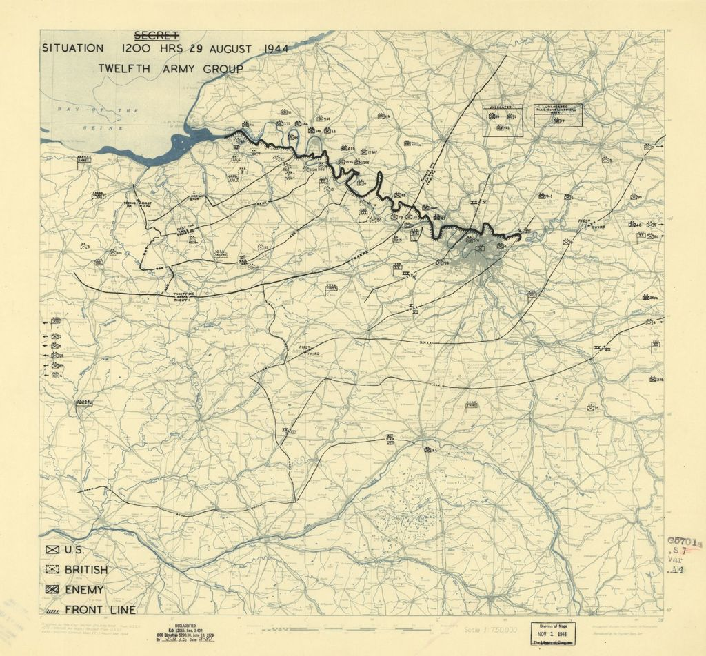 [August 29, 1944], HQ Twelfth Army Group situation map.