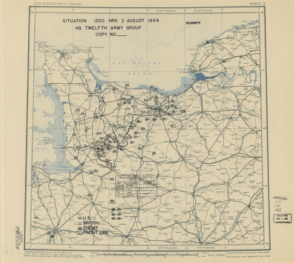 [August 3, 1944], HQ Twelfth Army Group situation map.