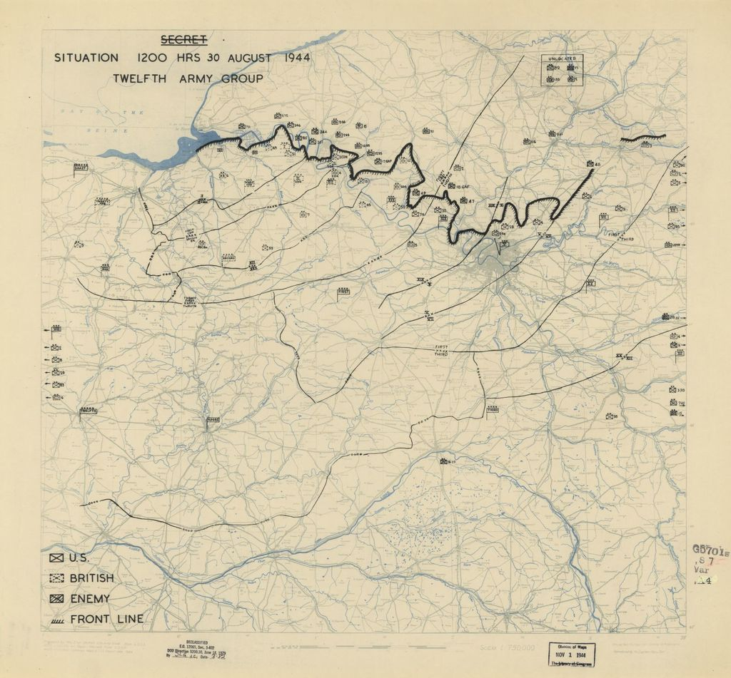 [August 30, 1944], HQ Twelfth Army Group situation map.
