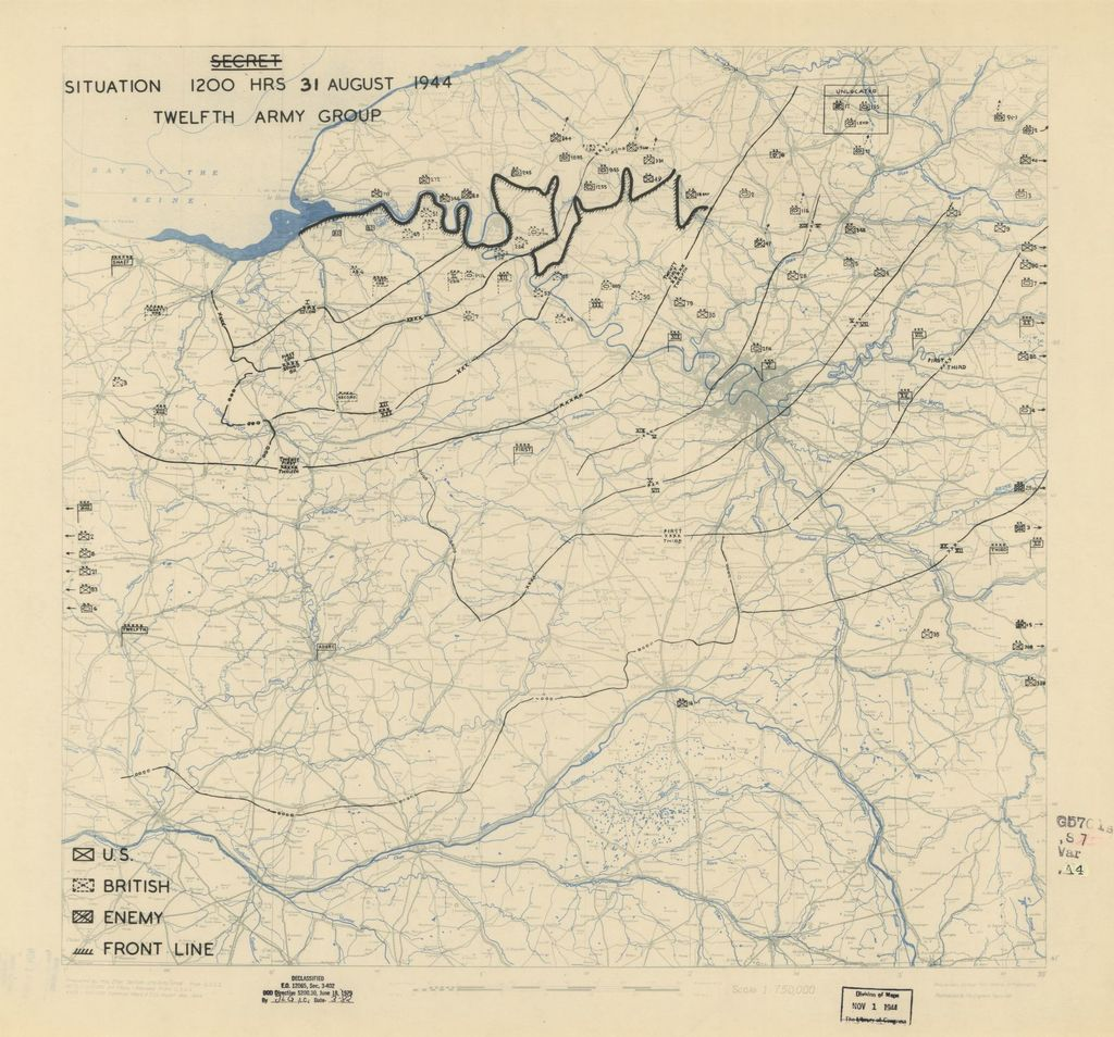 [August 31, 1944], HQ Twelfth Army Group situation map.