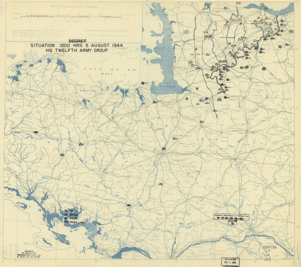 [August 5, 1944], HQ Twelfth Army Group situation map.