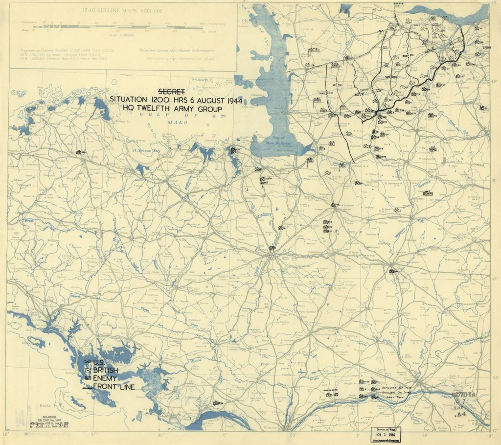 [August 6, 1944], HQ Twelfth Army Group situation map.