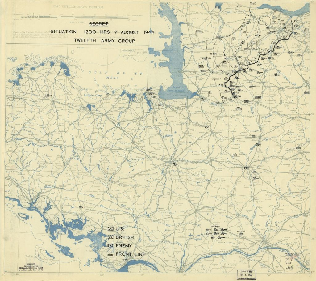 [August 7, 1944], HQ Twelfth Army Group situation map.