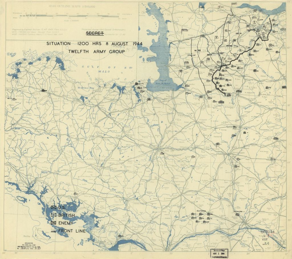 [August 8, 1944], HQ Twelfth Army Group situation map.