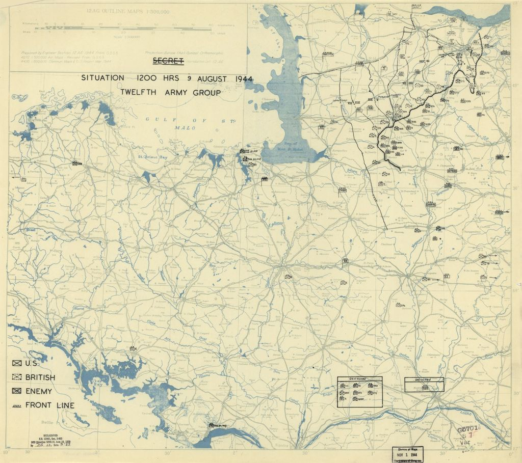 [August 9, 1944], HQ Twelfth Army Group situation map.